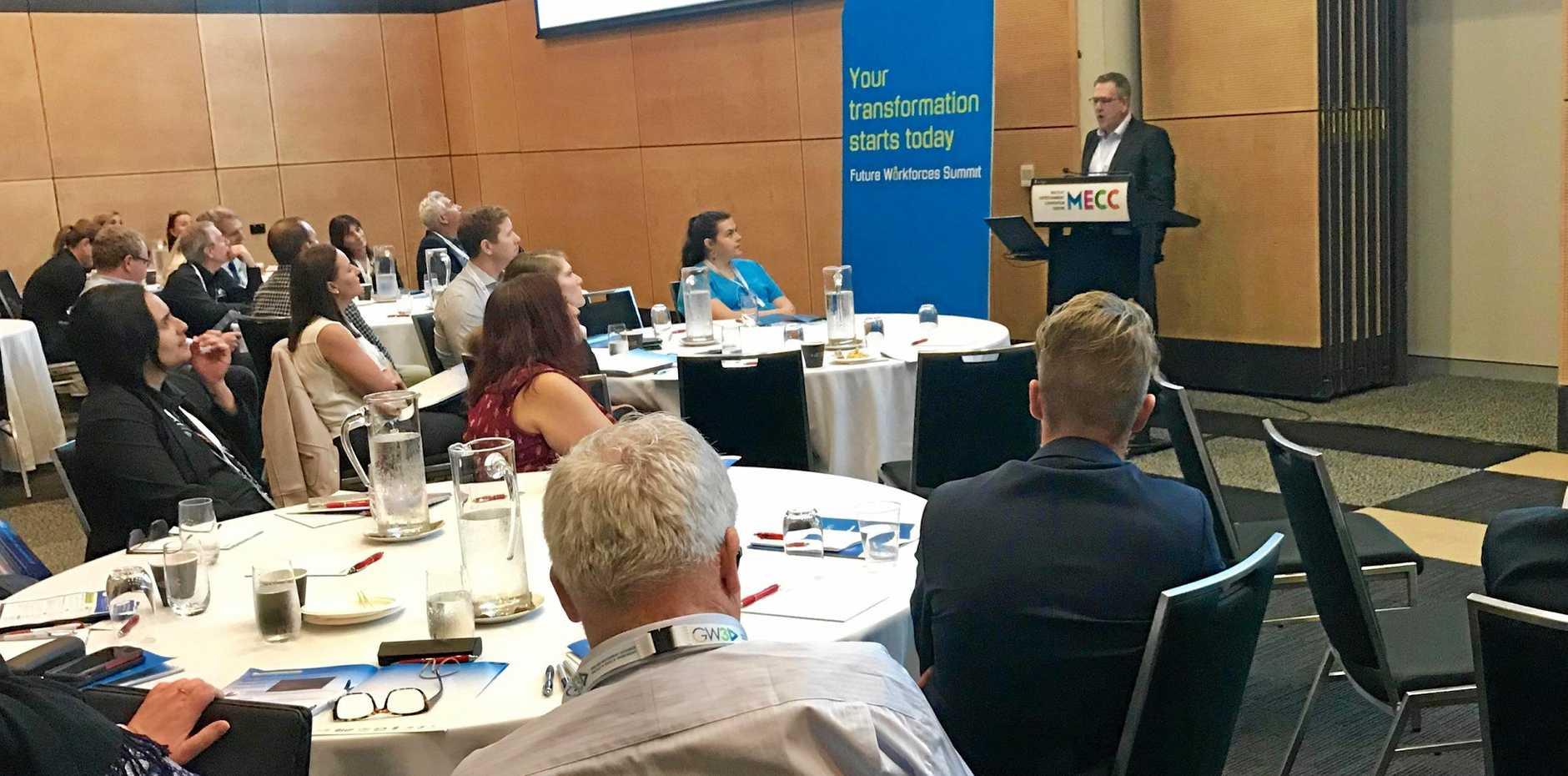 University of Technology Sydney senior lecturer Gerard De Valence addresses the Construction stream breakout at GW3's Future Workforces Summit.