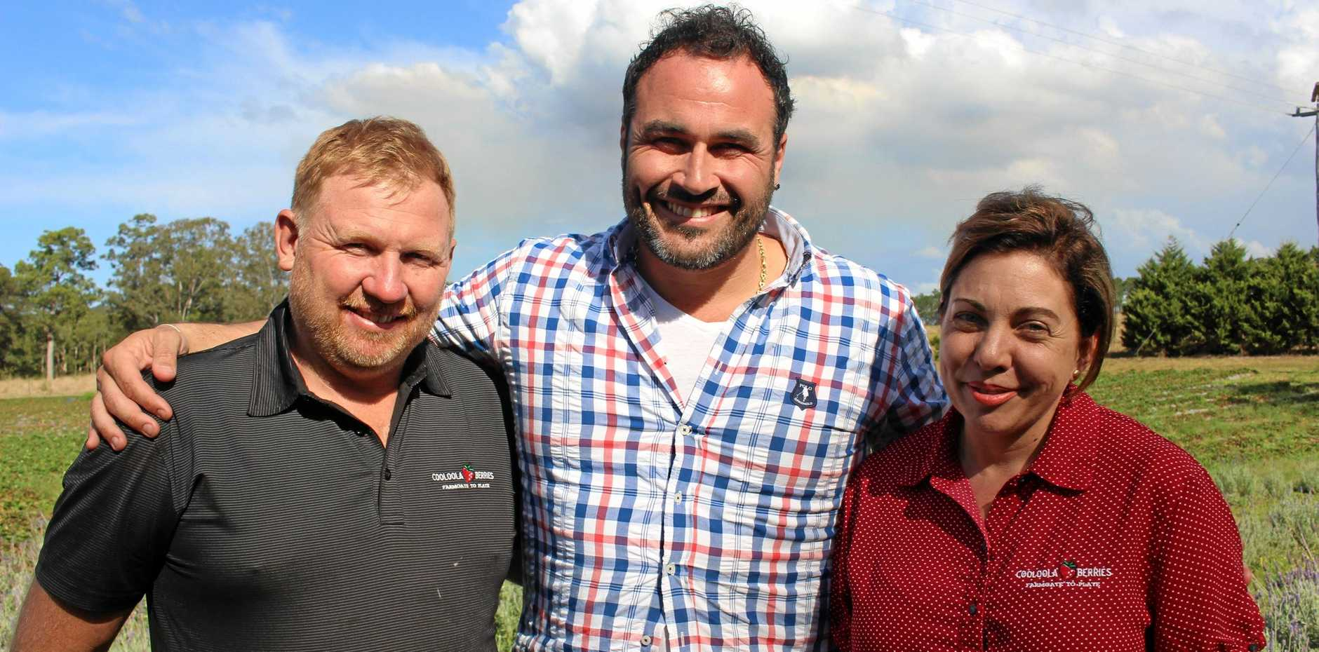 Cooloola Berries Jason and Kim Lewis with Living Room chef Miguel Maestre