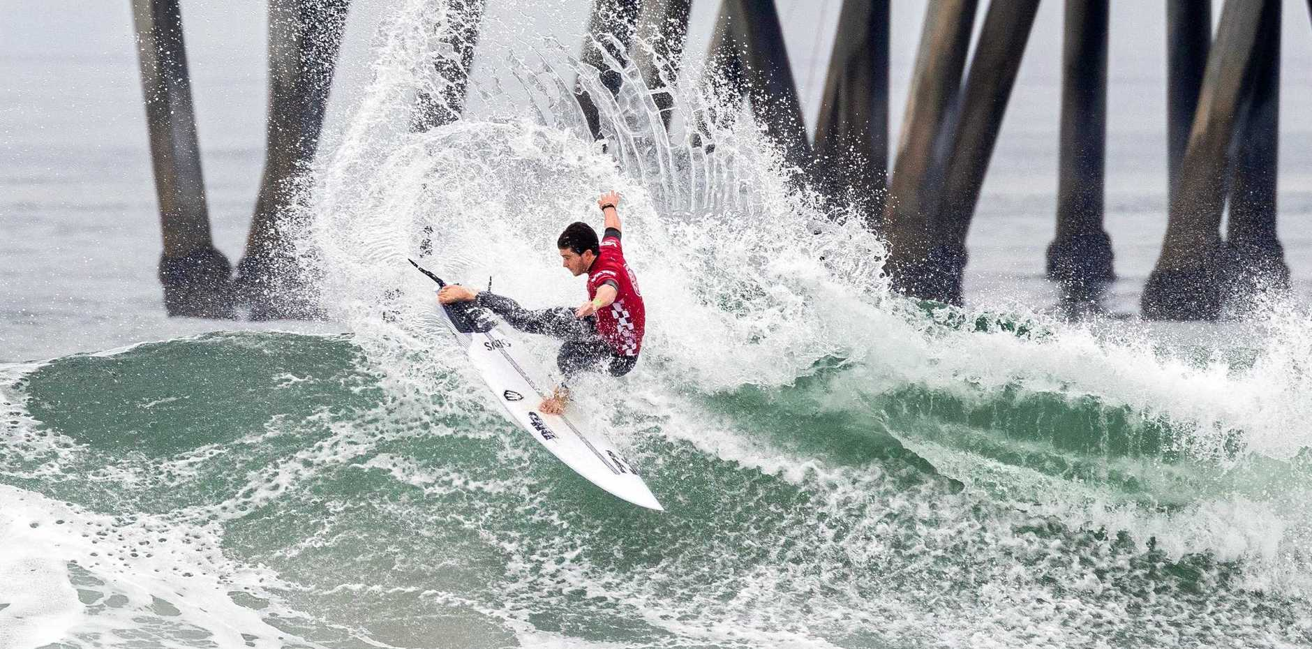 ON THE RISE: Liam O'Brien advancing to the semi-finals of the 2019 VANS US Open of Surfing after winning quarter-final heat 3 at Huntington Beach.