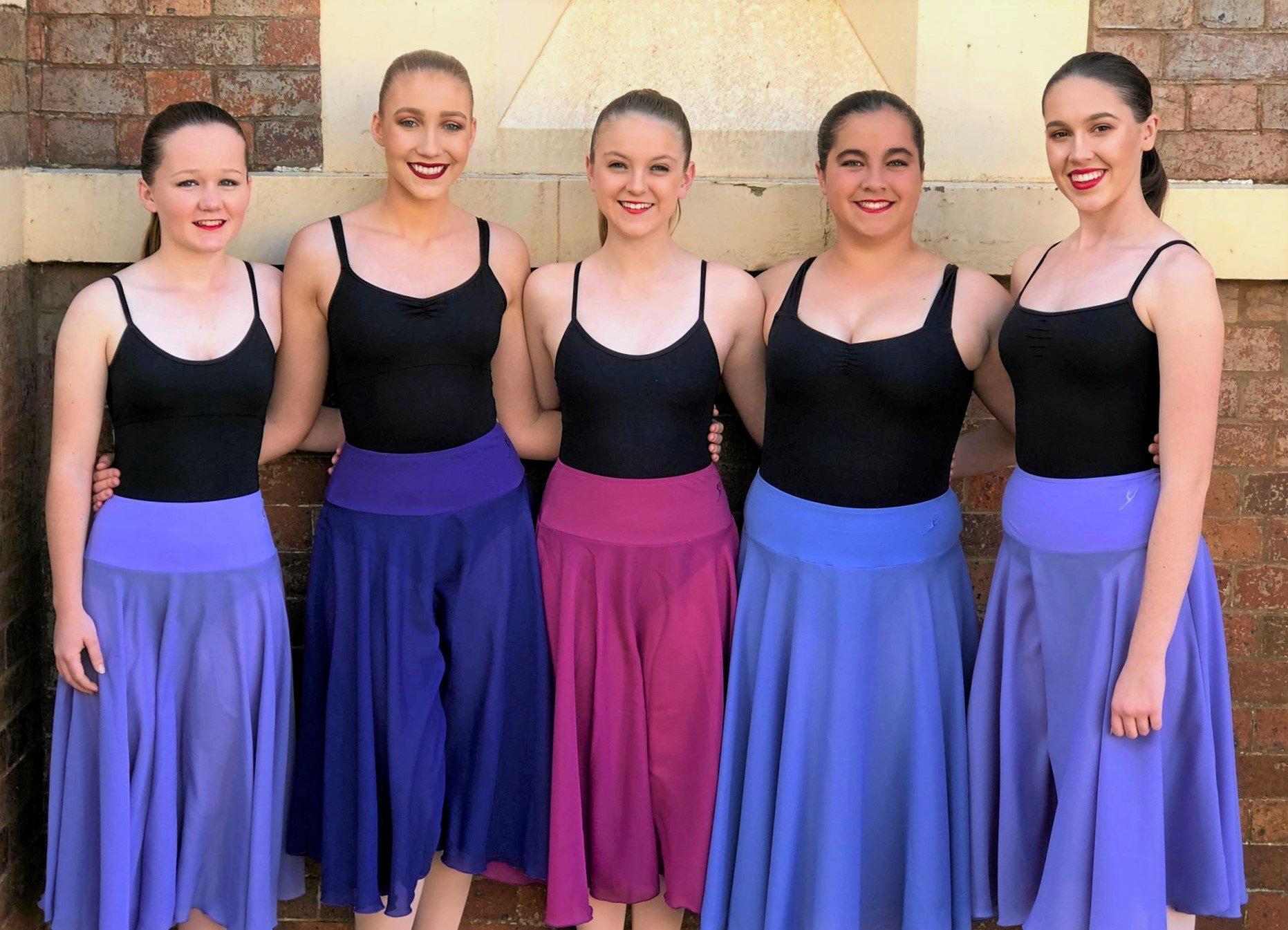 DANCING WITH TOWN PRIDE: Senior dancers, Chloe Honnery, Tawnie Benecke, Skye Gerke, Mikayla Wilson and Lauren Fendley from Chinchilla Dance Studio.