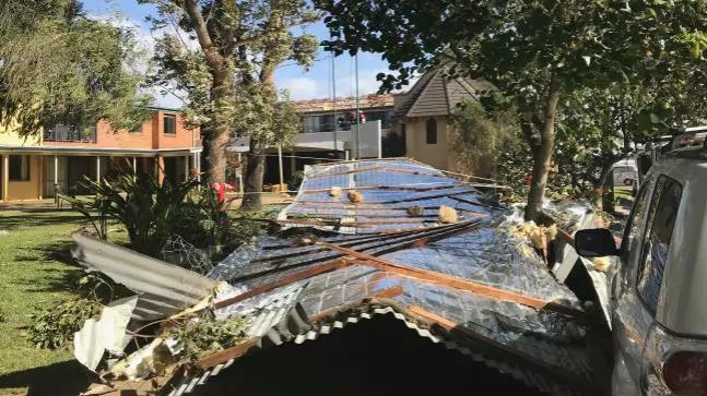 A roof has been ripped off a nursing home in Newcastle due to extreme winds across NSW. Picture: SuppliedSource:Supplied