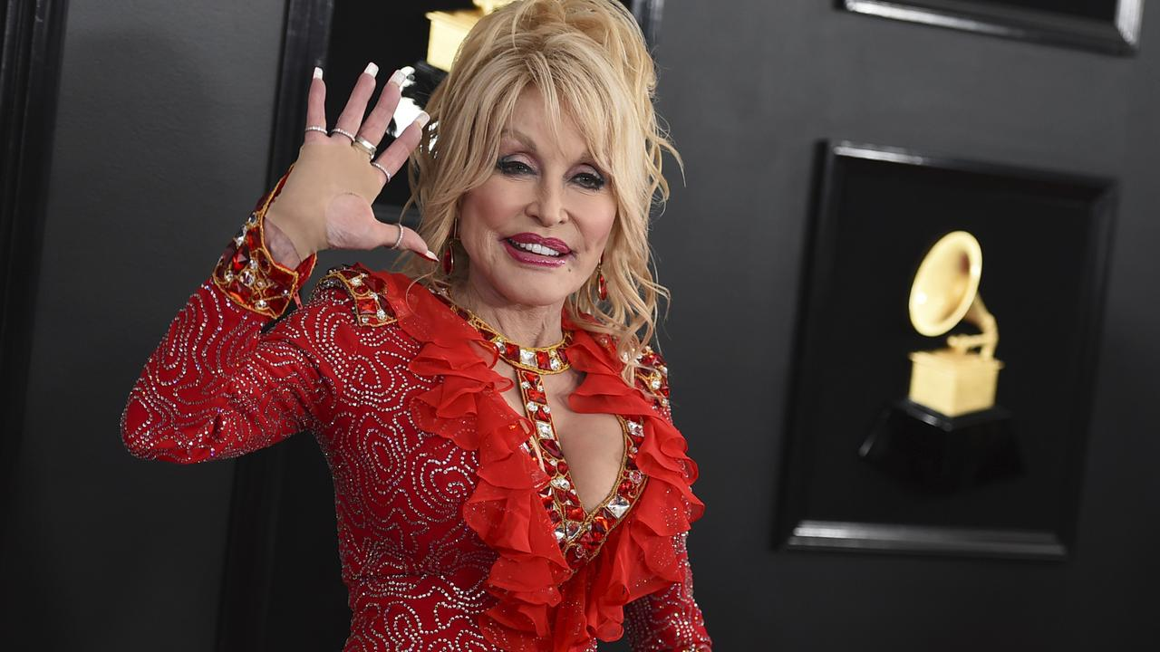 Dolly Parton arrives at the 61st annual Grammy Awards. Picture: Jordan Strauss/Invision/AP