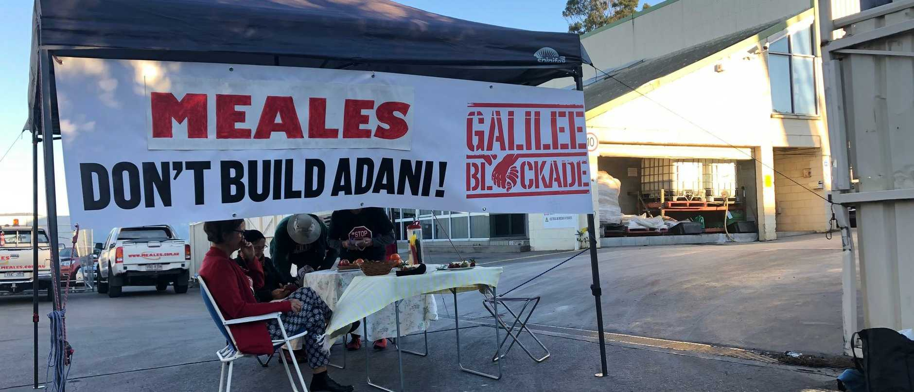Activists have set up a blockade at Brisbane business Meales this morning