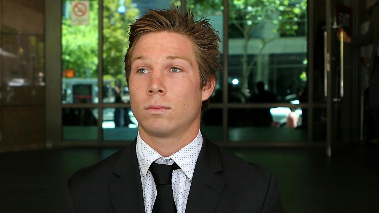 GWS midfielder Toby Greene leaves the Melbourne Magistrates Court in 2014. Picture: Mark Stewart