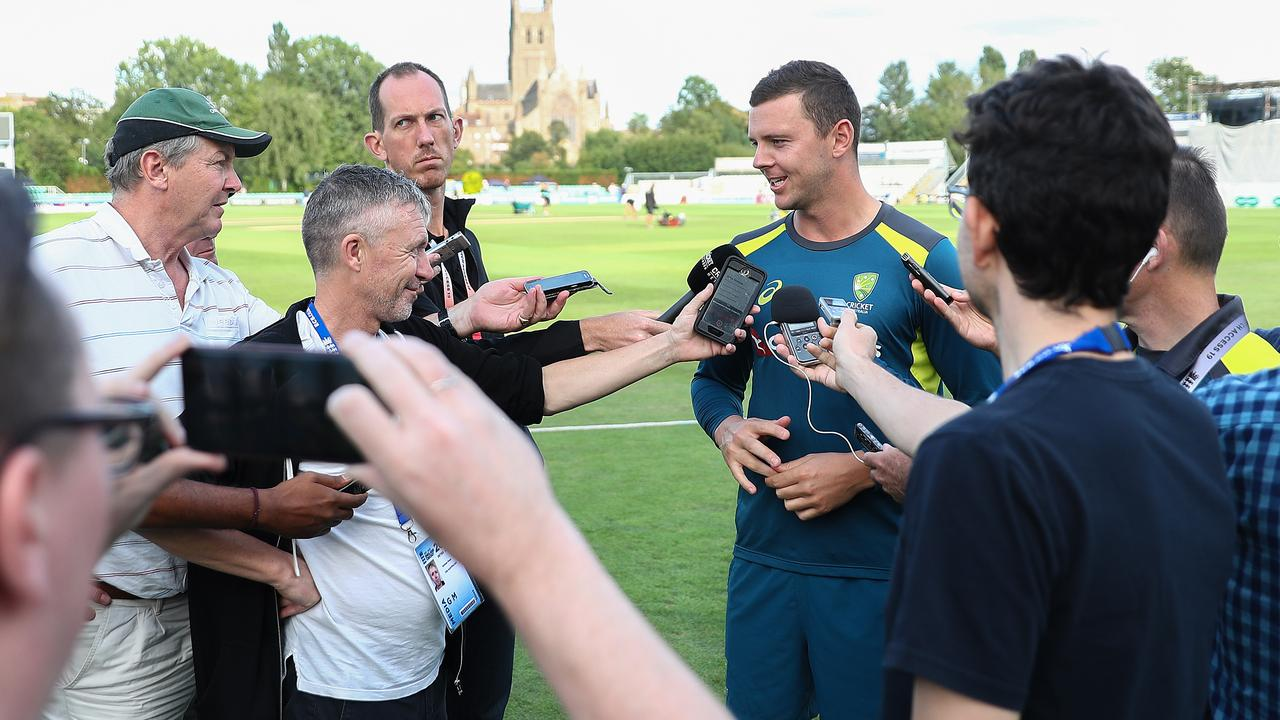 Josh Hazlewood is the centre of attention after impressing in the tour match.