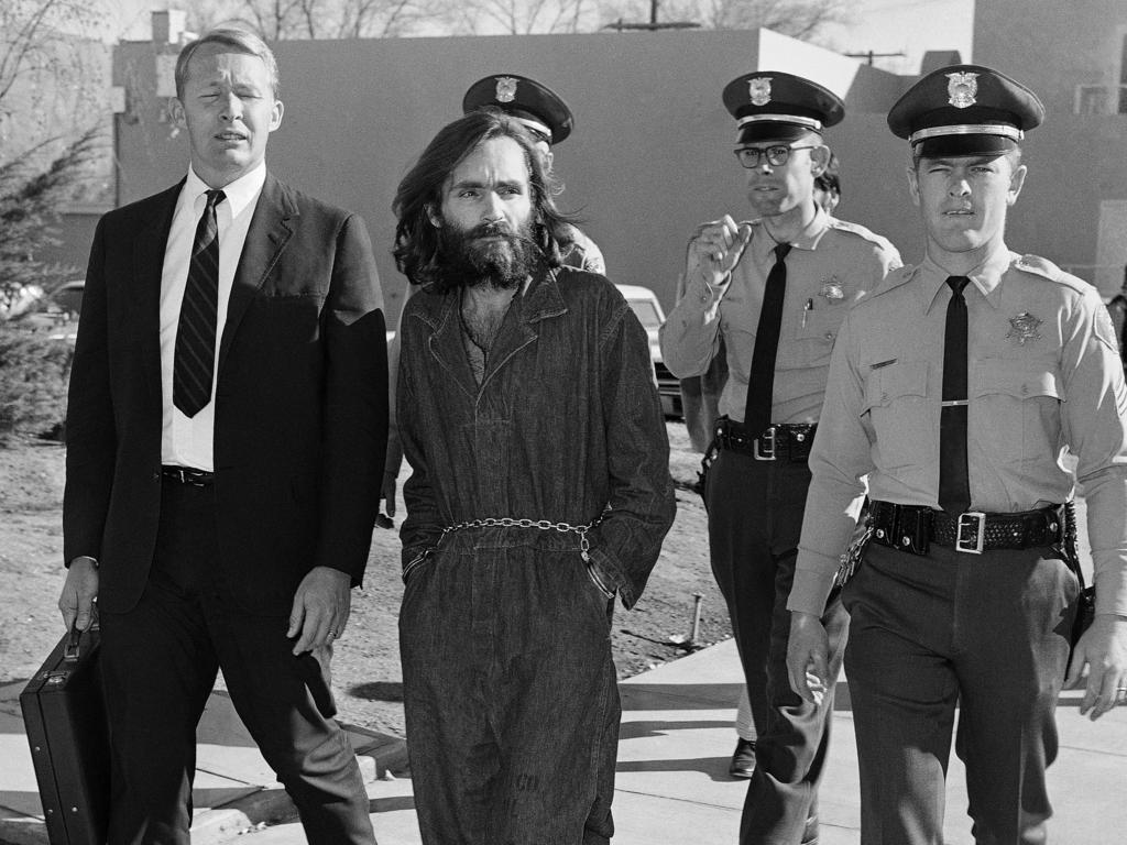 Charles Manson en route to court in December 1969. Picture: AP