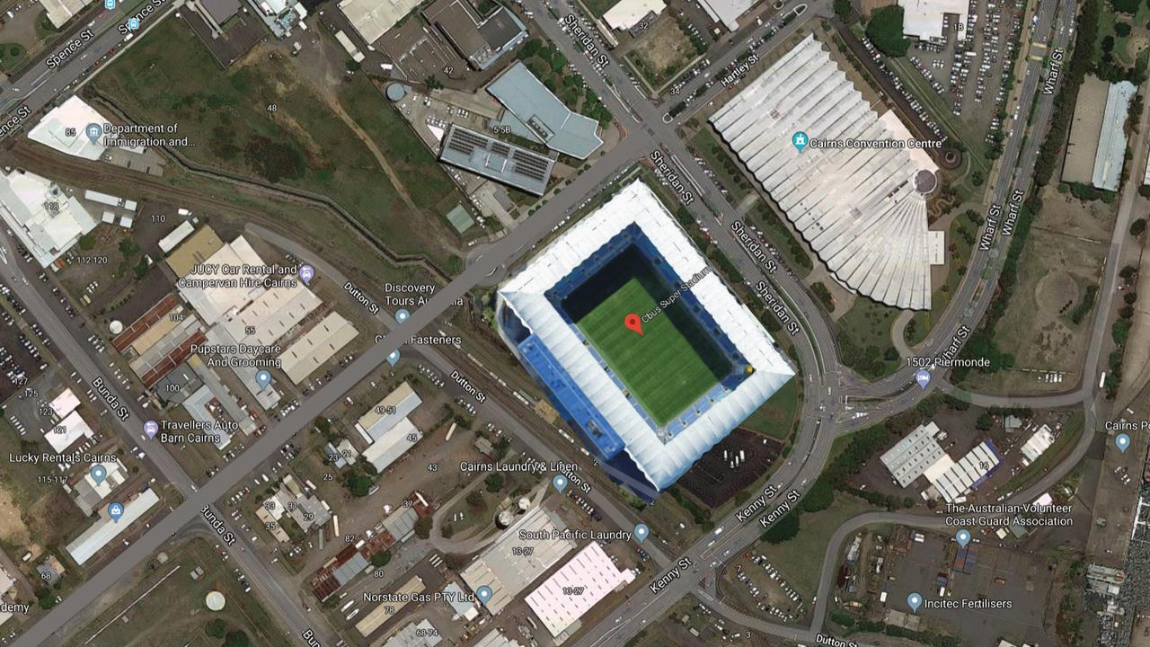 Leichhardt MP Warren Entsch has revealed a proposal to build a rectangular stadium on land owned by developer Frank Gasparin opposite the Cairns Convention Centre. The Gold Coast's Cbus Super Stadium has been superimposed on the site to show there is enough space to make it happen. PICTURE: SUPPLIED