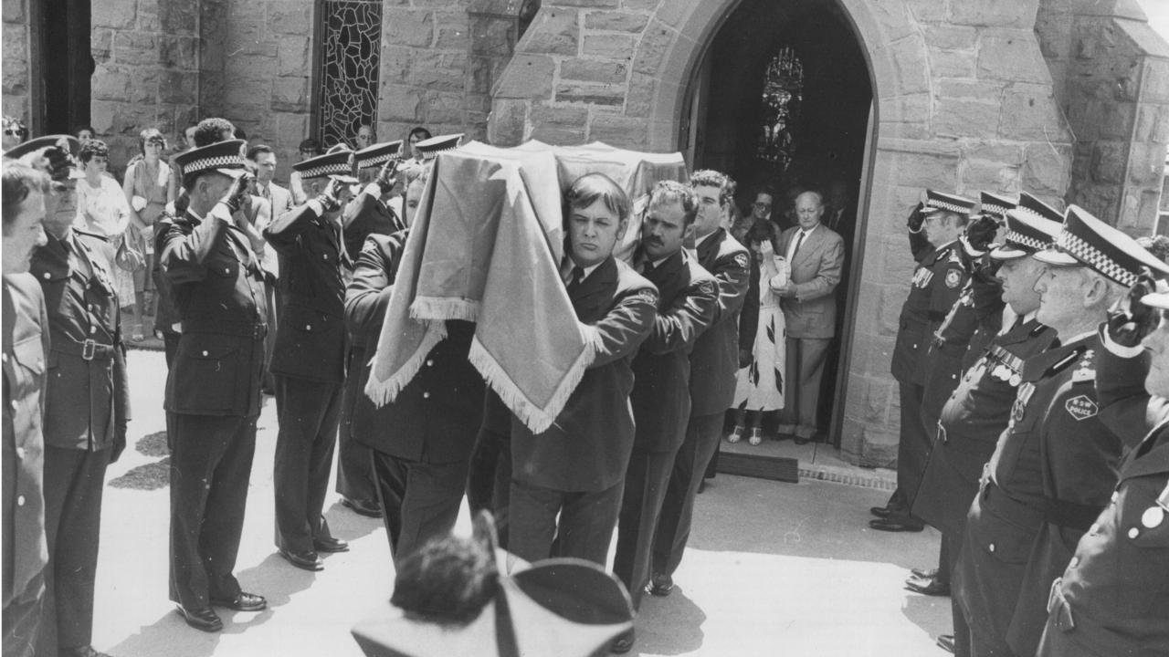 The funeral of Sergeant Keith Haydon in 1980 after his murder at the hands of Rees.