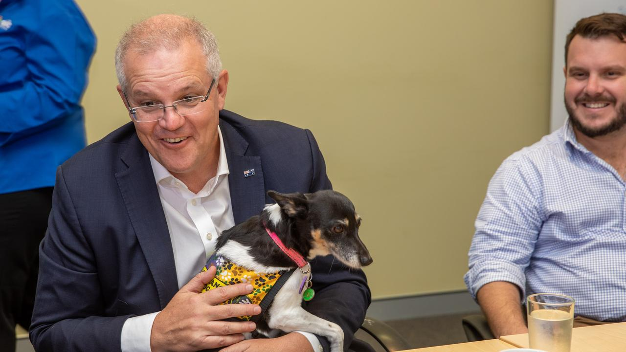 Prime Minister Scott Morrison with fox terrier Zoe and MP Phillip Thompson during a visit to The Oasis Townsville, Thursday, August 8, 2019. (AAP Image/Cameron Laird) NO ARCHIVING