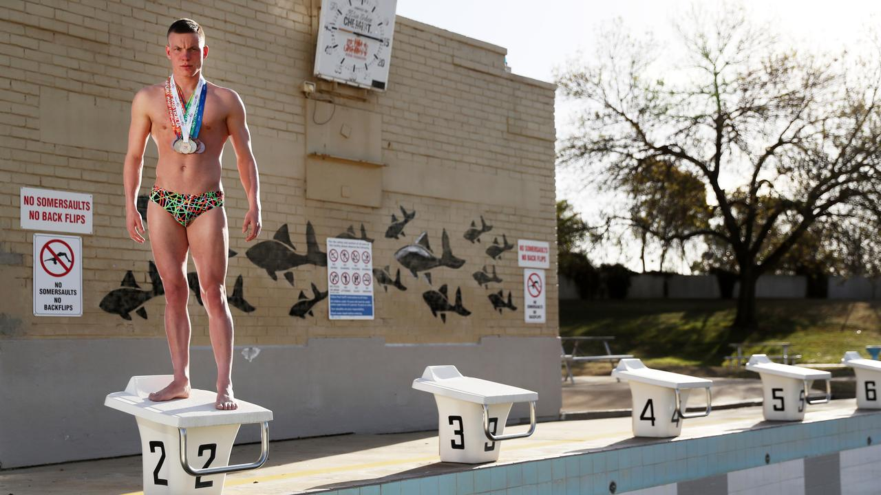 Tamworth swimmer Connor Roberts will have nowhere to train level 5 water restrictions are introduced - the town's pools will not be filled. Picture: Jonathan Ng