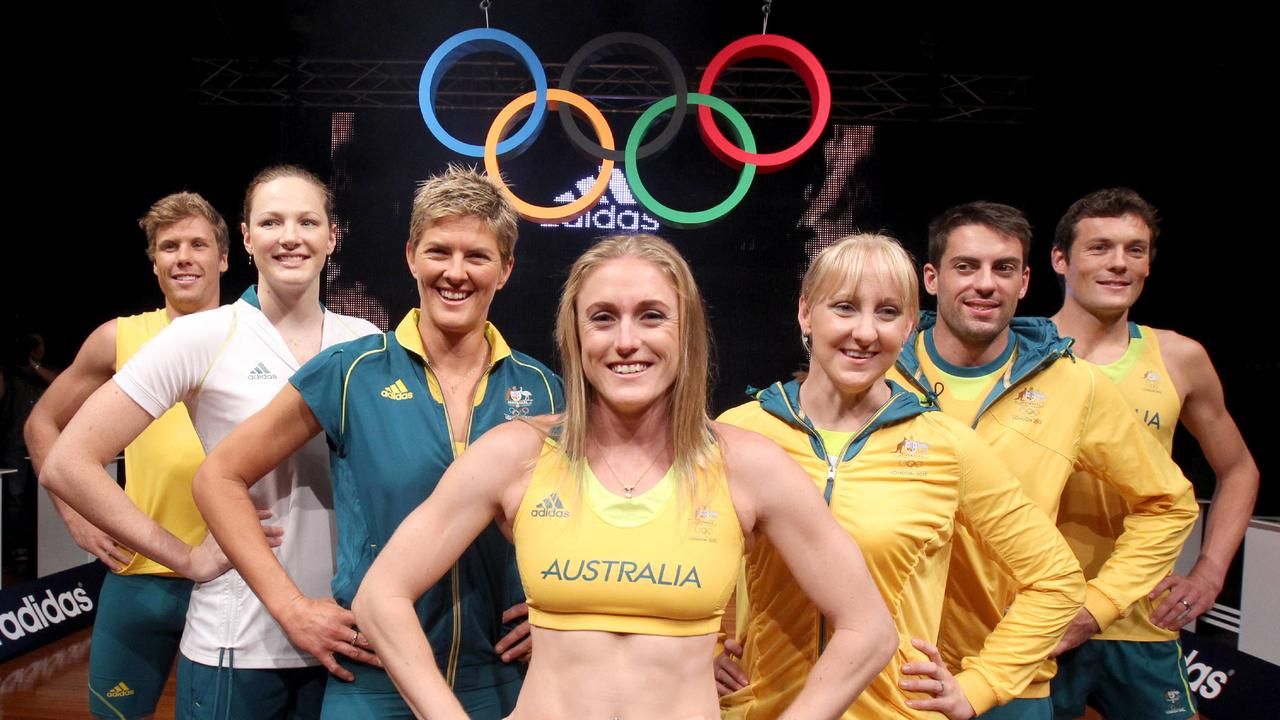 Athletes (L-R) Henry Frayne, Cate Campbell, Natalie Cook, Sally Pearson, Jessicah Schipper, Mitchell Watt and Craig Mottram at the launch of the Australian team uniforms that will be worn by the athletes during the 2012 Olympic Games in London, pictured at Homebush in Sydney.