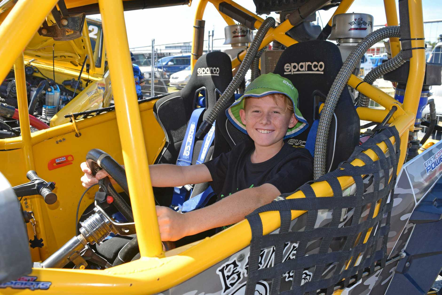 Steven Pepper from Proserpine loved trying out the toys at the Big Boys Toys Expo at Mackay Showgrounds this weekend.