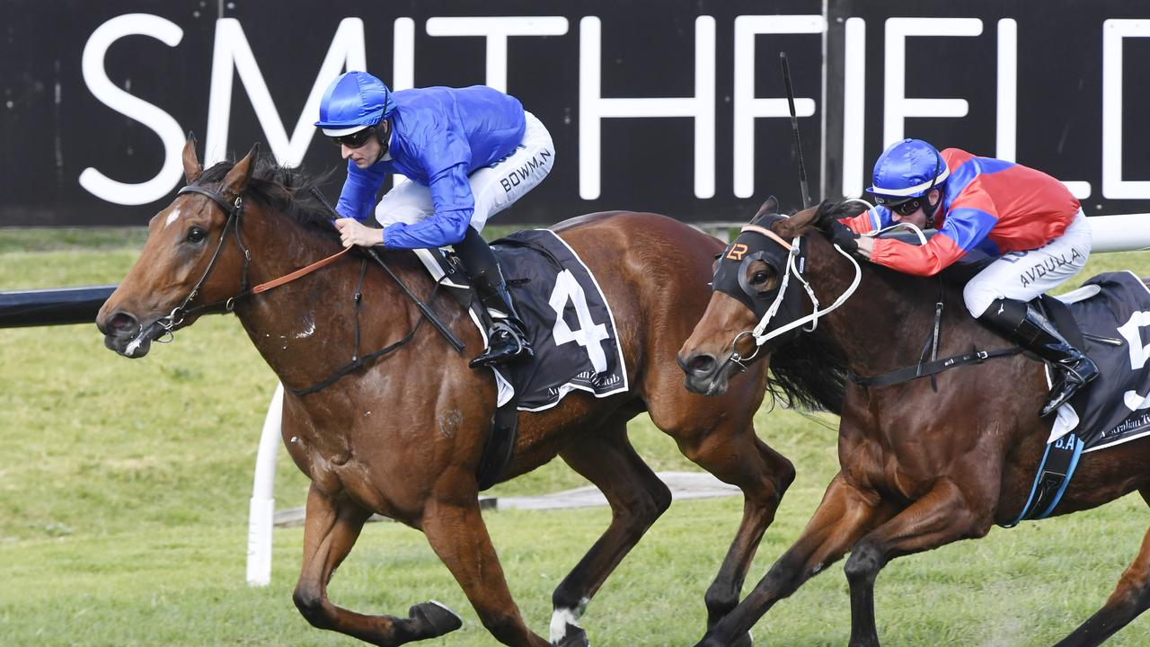 Hugh Bowman cuts it fine on board Alizee on Saturday. Picture: AAP