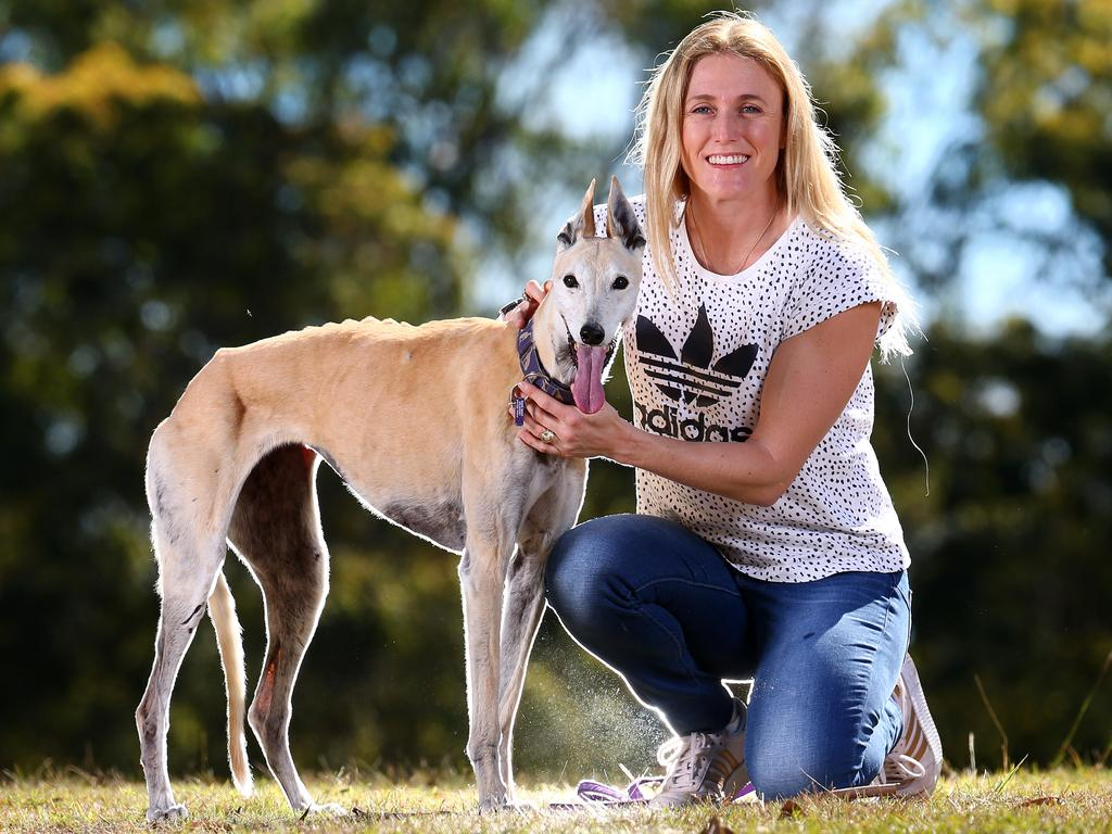 Sally Pearson is looking forward to more time with her dogs Oscar and Kayla (pictured) and husband Kieran. Picture: Adam Head