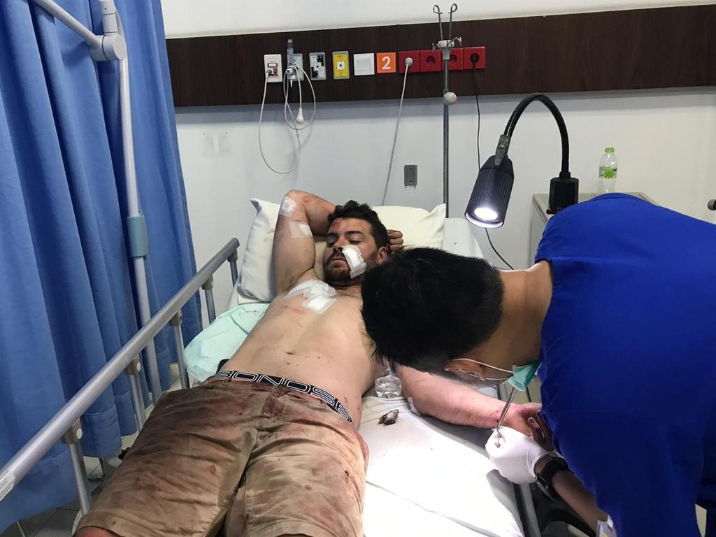 26-year-old South Australian Nicholas Carr in hospital recovering from injuries sustained after a bizarre rampage on a busy street in Bali. Picture: Lukman S. Bintoro