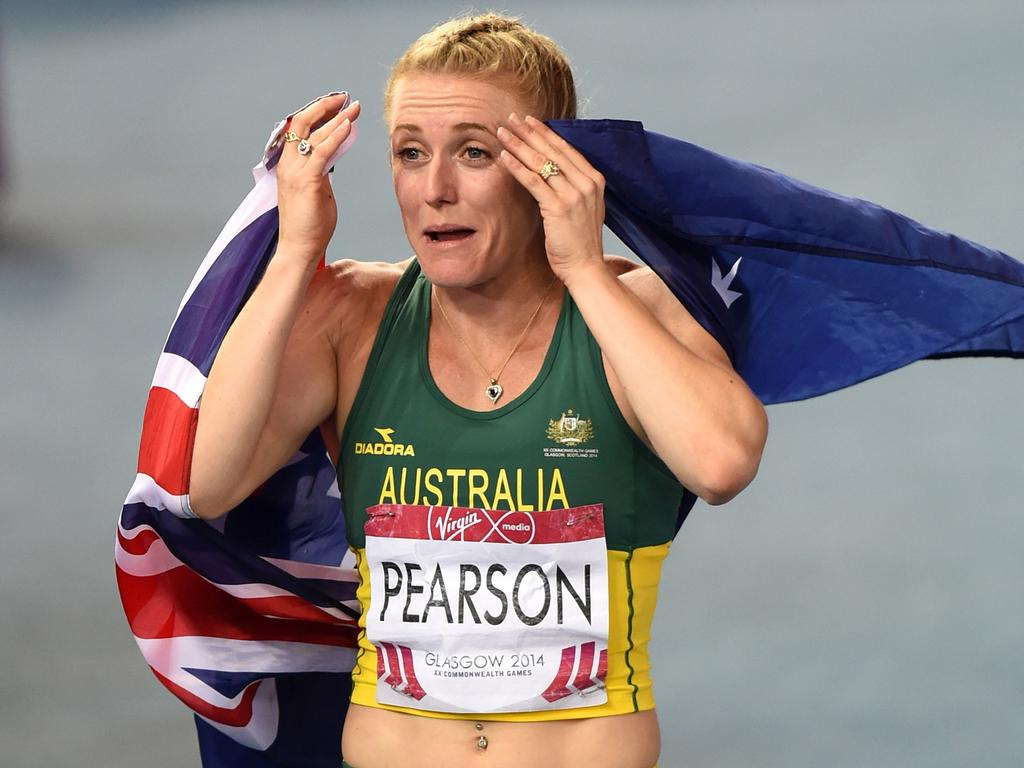 Pearson takes out gold in the 100m hurdles at the 2014 Glasgow Commonwealth Games.