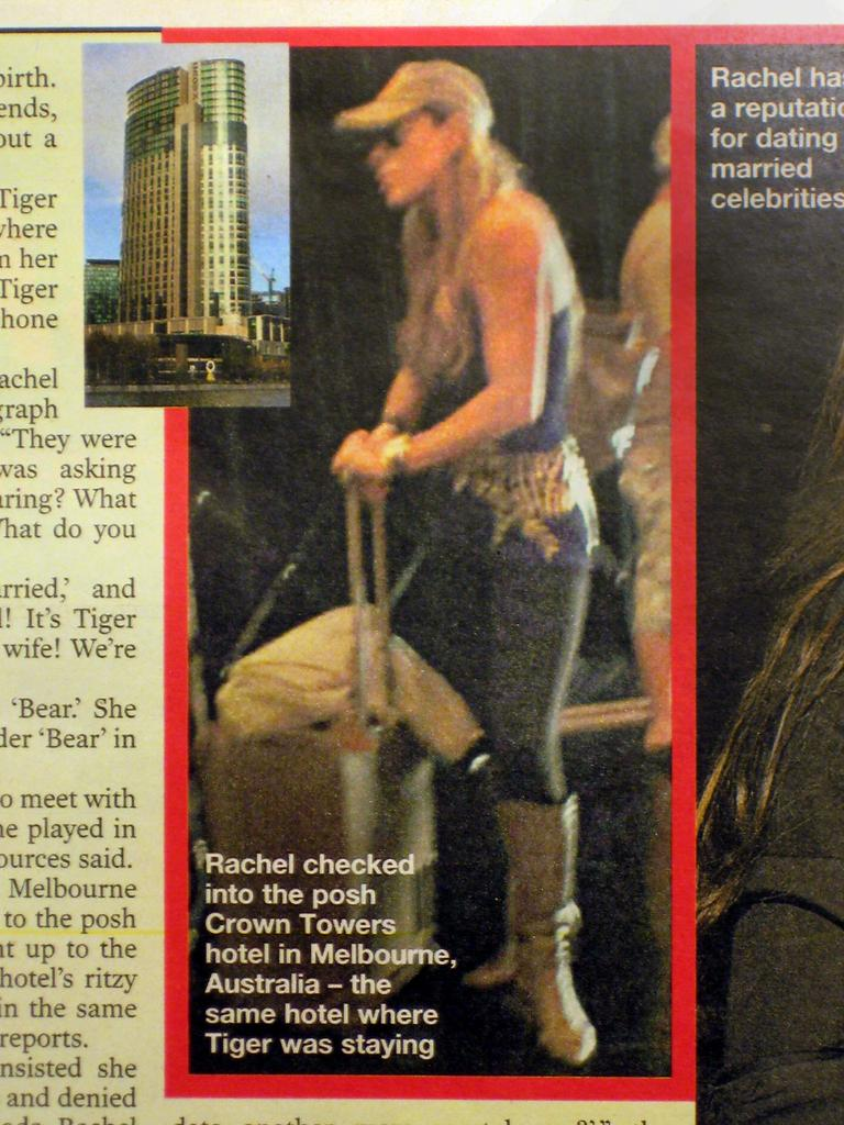 Rachel Uchitel is photographed checking in to Crown in Melbourne.