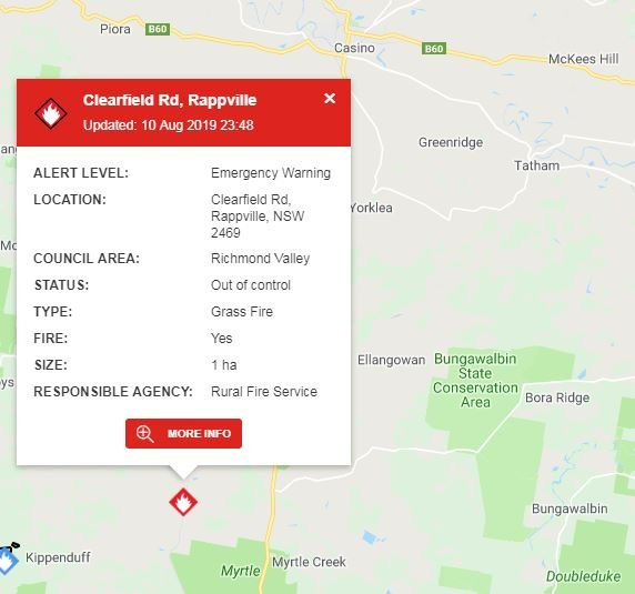 An Emergency Warning was issued at 11.48pm on Saturday, 10th August, 2019 or an out of control bushfire at Rappville south of Casino.
