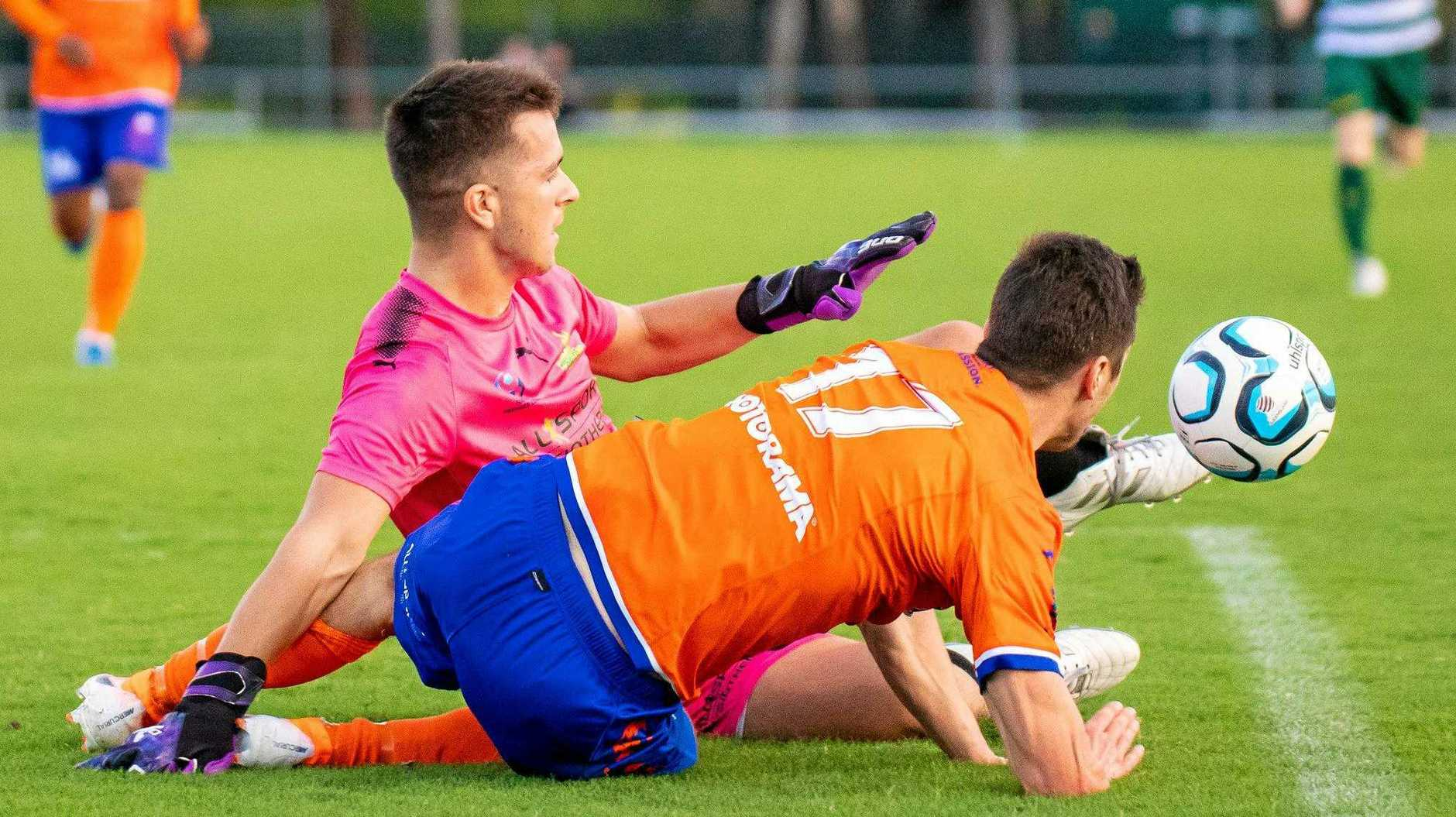 TOUGH WORKOUT: Western Pride goalkeeper Griffin Bambach made some great saves in his team's latest 2-0 loss to NPL leaders Lions.