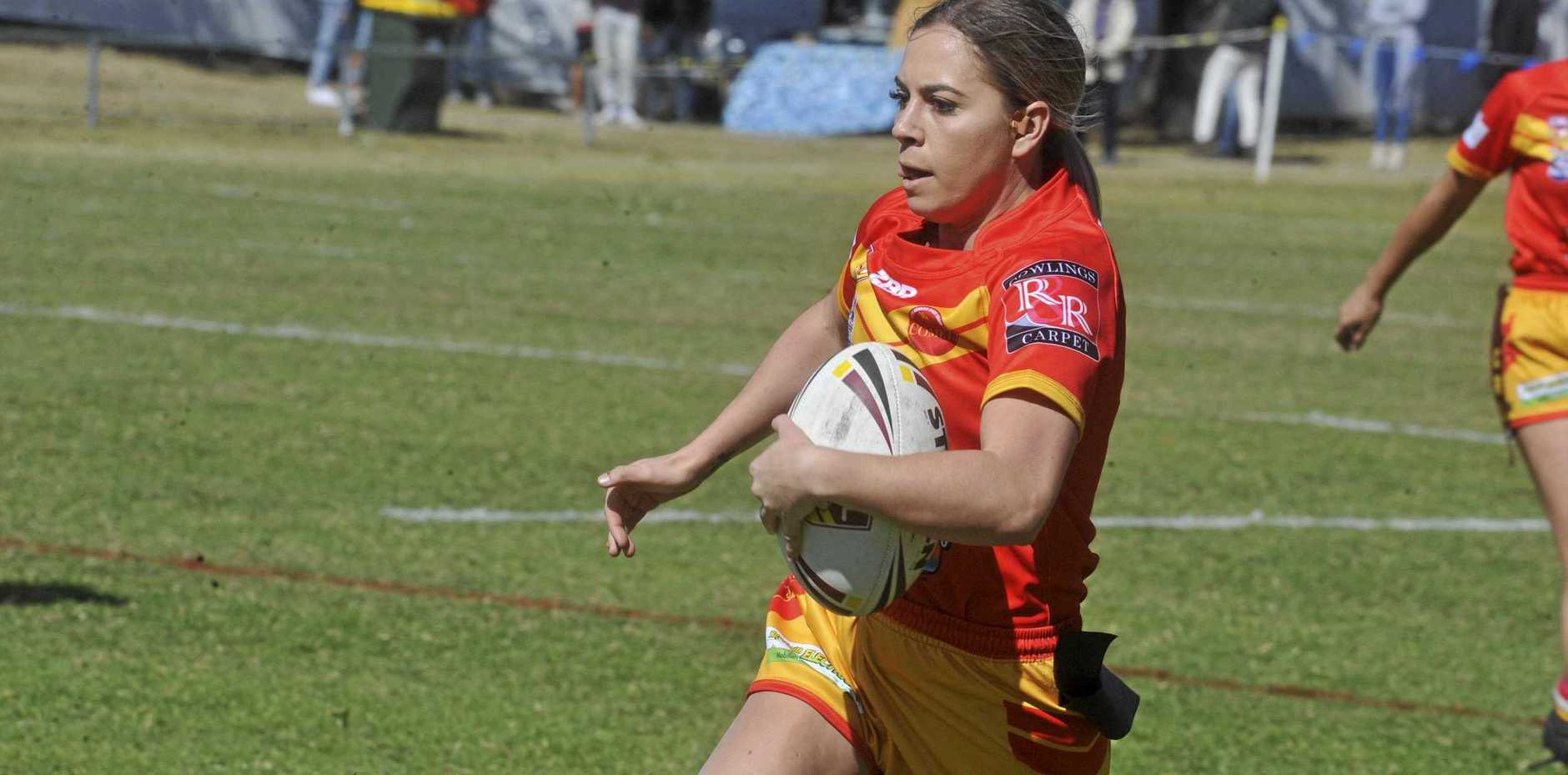 NEED FOR SPEED: Kiah Flett was instrumental in the Coffs Harbour Comets win over the Sawtell Panthers in the ladies league tag preliminary final at Frank McGuren Field on Sunday.