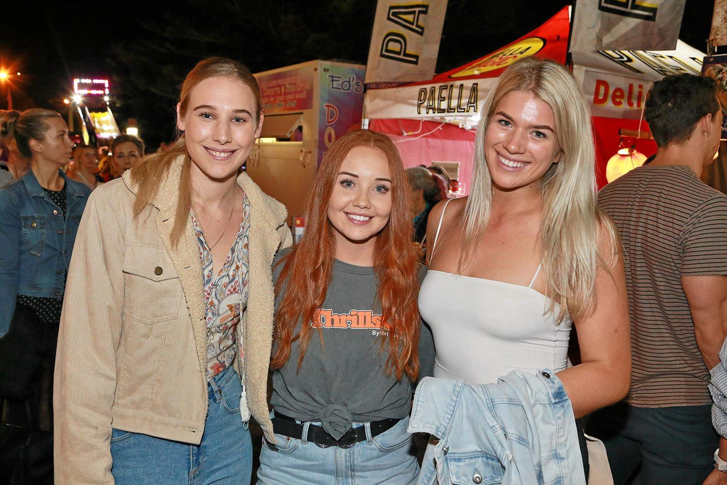 L-R Alyssa Granter, Maddy King and Ashleigh Irwin at the Village Festival.