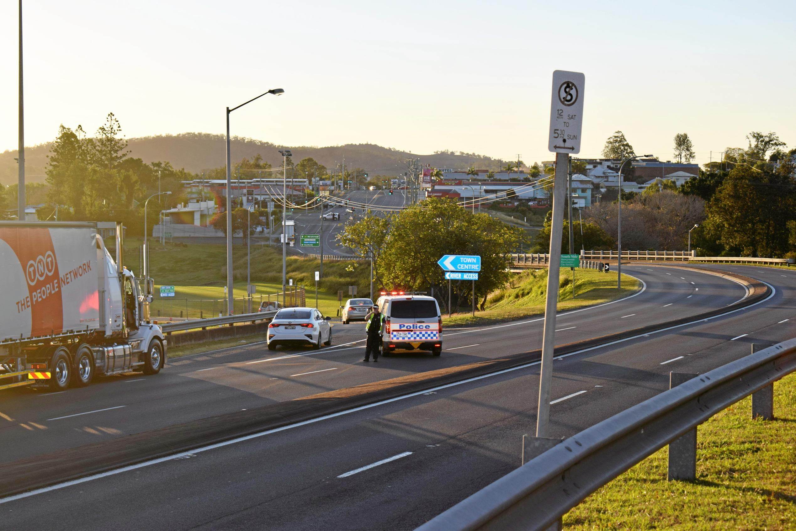 SIEGE: Police closed off the Bruce Highway through Gympie this afternoon in response to what witnesses say was a siege.