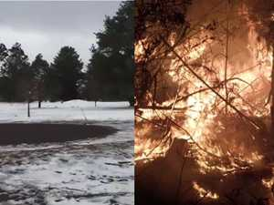 POLAR OPPOSITE: Snow falls in west as fires blaze in Valley