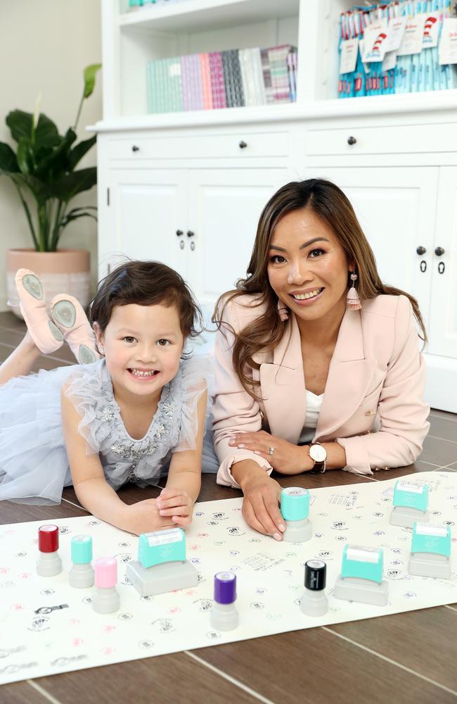 Uyen Maxwell with her daughter Jessica, 5. Picture: Tim Hunter.