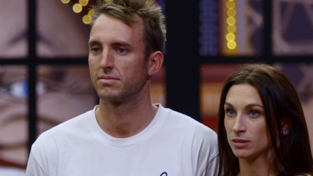 Jesse and Mel looking in complete shock after the judges tore their ensuite room reveal apart. Picture: The Block/ Channel 9