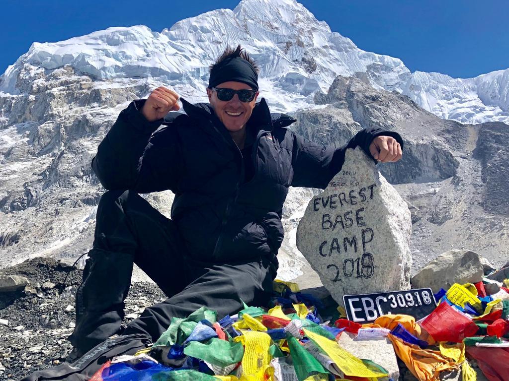 Gold Coast radio broadcaster Luke Bradnam at the Everest Base Camp.