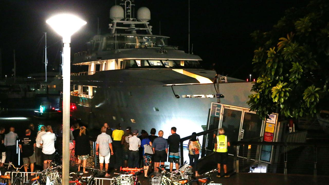 45.6 metre super yacht MOATIZE crashed into the E arm of the Cairns Marlin Marina on Saturday evening, causing damage to the ship's bow and to the marina gangplank. PICTURE: BRENDAN RADKE