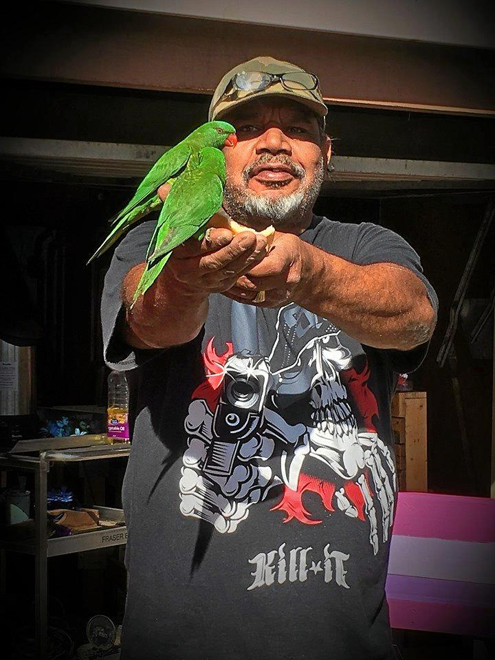 SOCIAL MEDIA IMAGE DISCUSS USE WITH YOUR EDITOR - My hubby feeding birds in our front yard in Bundamba.