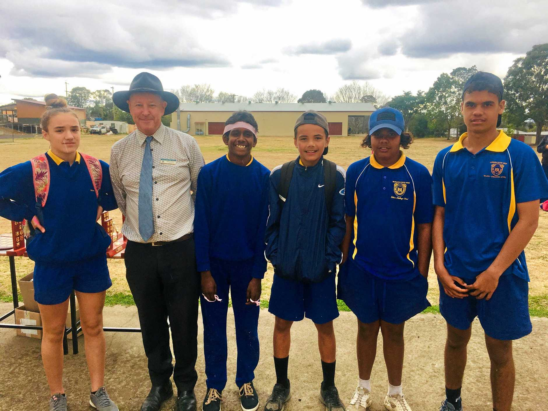Murgon State High School principal Simon Cotton amongst the record breakers from the athletics carnival, Bella Borninkhof, Patrick Collins, Ziggy Pidgeon, Jack Speedy and Dominic Sandow.