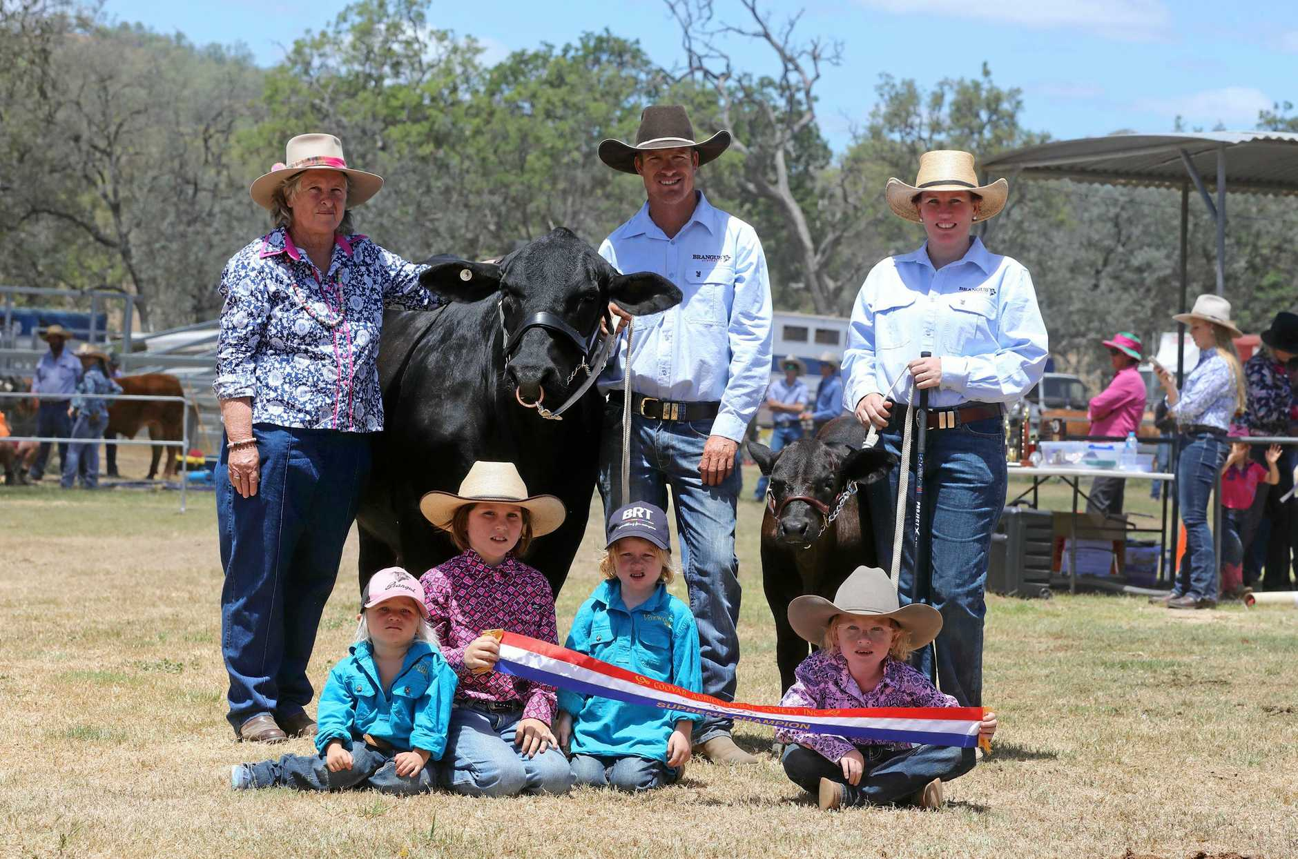 ALL CLASS: Denise, Edward and Kara Quinn (back) with Harriet, Hudsyn, Texas and Billie-Mae Quinn (front) with champion brangus stud Mercedes.