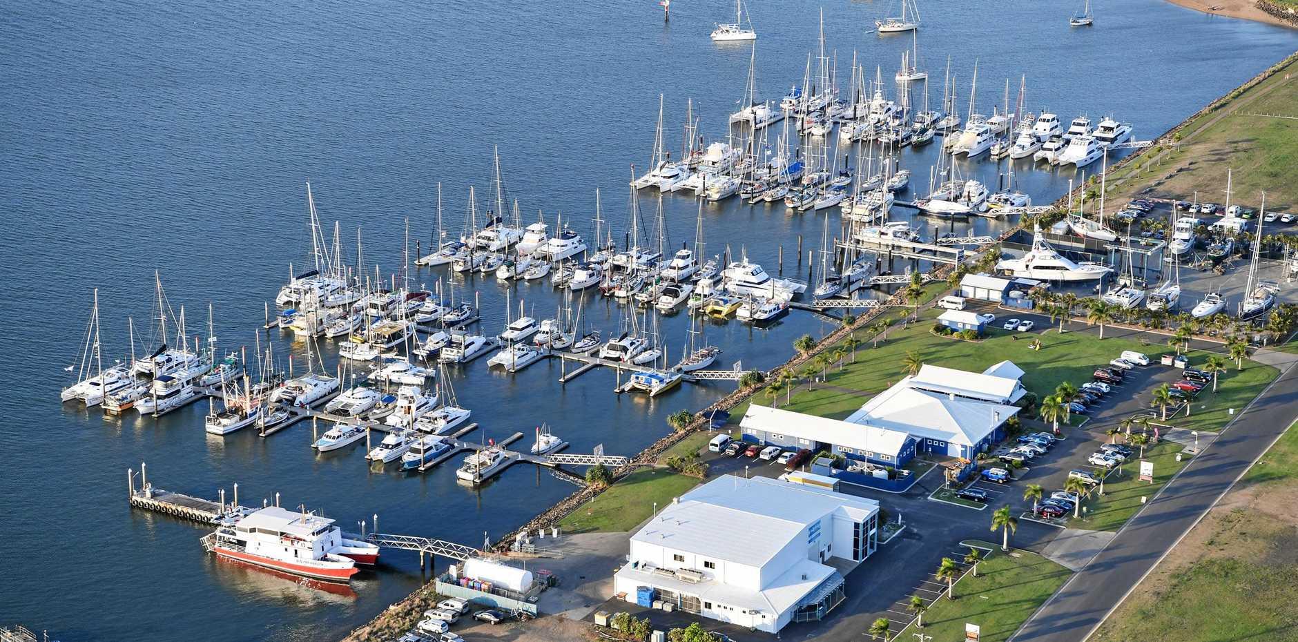 Aerial view Bundaberg Port Marina.