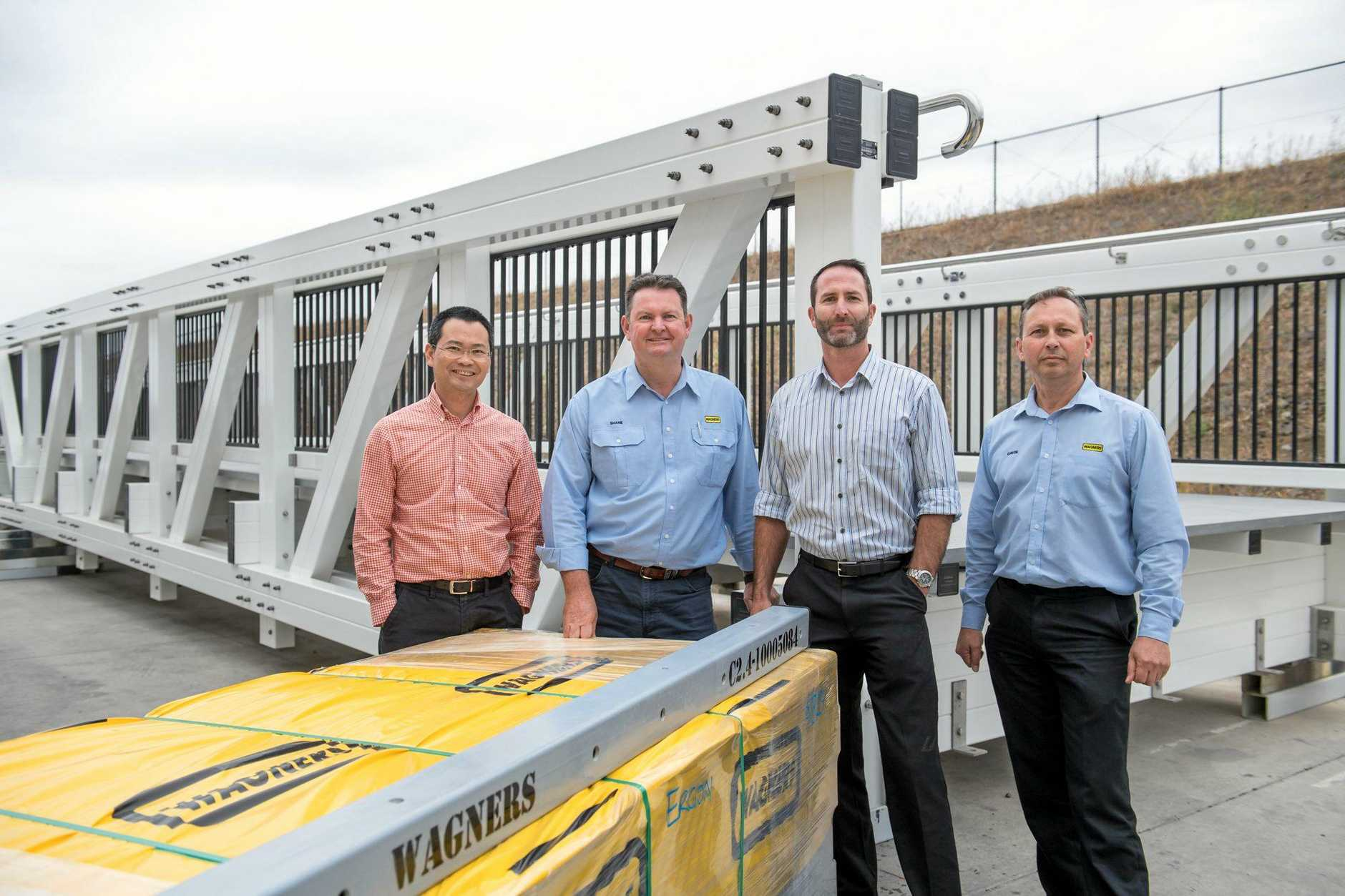 Inspect the new pultrusion technology are (from left) Dr Xuesen Zeng, Wagners General Manager Shane Charles, Professor Peter Schubel, and Wagners Regional Manager Gavin Wilson.