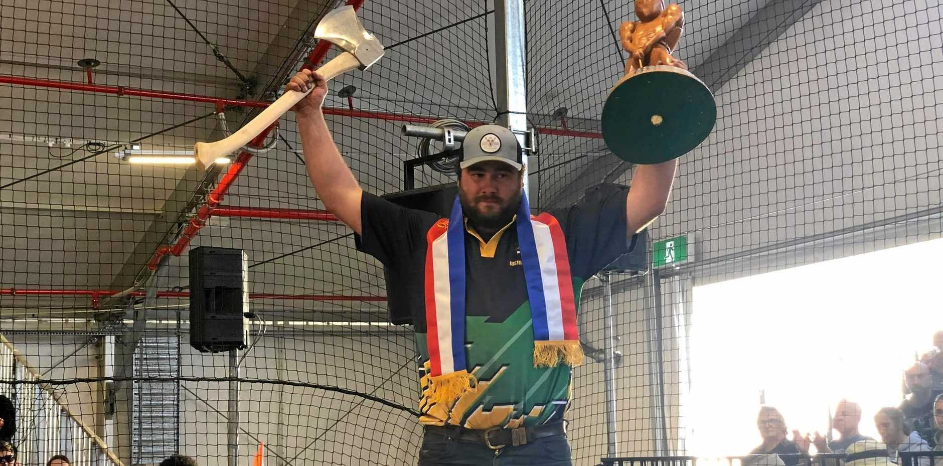 For the third year in a row Blackbutt local Mitchell Argent has been awarded Queensland Axeman of the Year trophy at the EKKA after earning a total of 66.5 points.