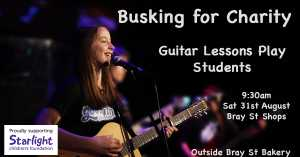 Busking for charity. Guitar students from Guitar Lessons Play will be performing their music and raising money for the Starlight Foundation at Bray St Shops.