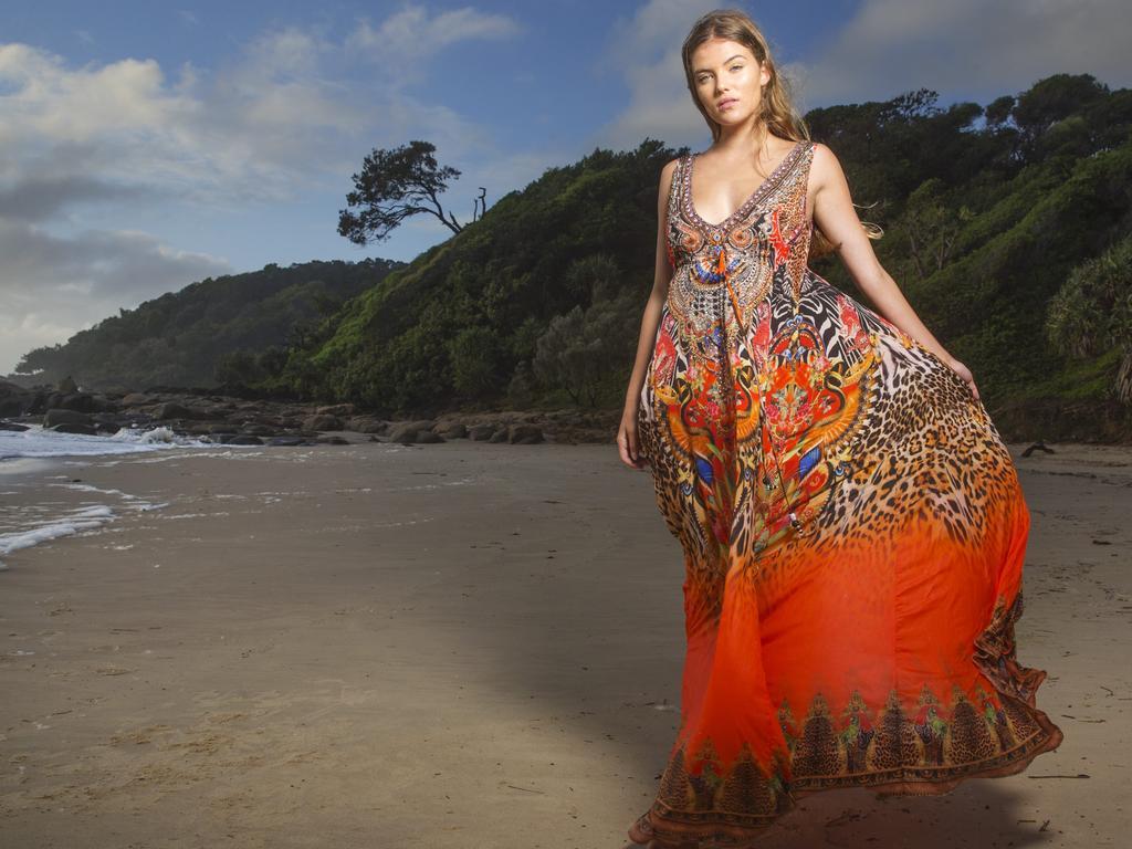 Model Taylor Ridley (16), wearing Czarina Kaftans at Coolum at the Sunshine Coast International Fashion Festival last year. Photo Lachie Millard