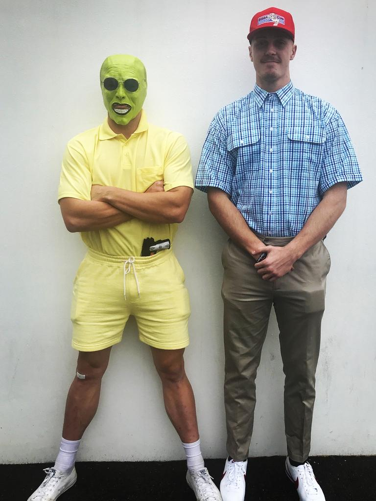 Lane with an unidentified person dressed as the Jim Carrey character The Mask. Picture: Instagram