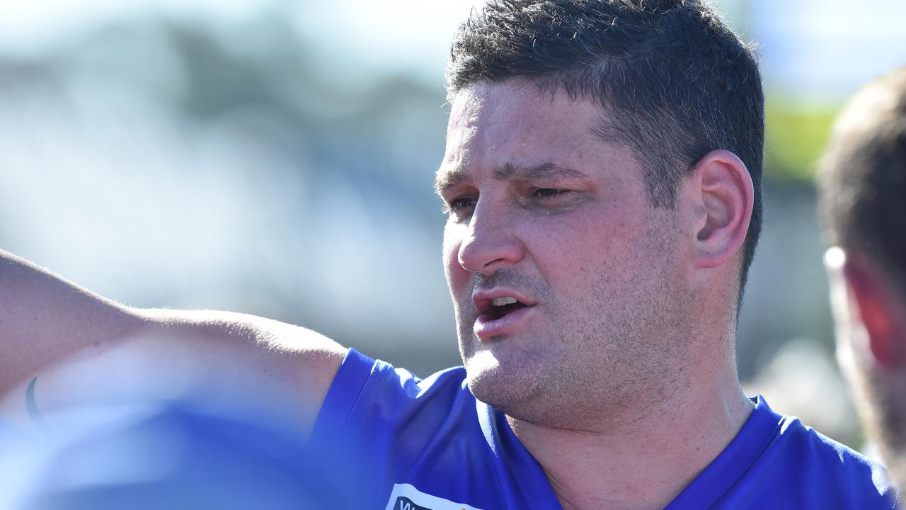 Brendan Fevola of Hastings is seen in action quarter time during the MPNFL Div 2 match in Hastings, Melbourne, Saturday, April 20, 2019. MPNFL Div 2 v Devon Meadows V Hastings. (AAP Image/James Ross) NO ARCHIVING