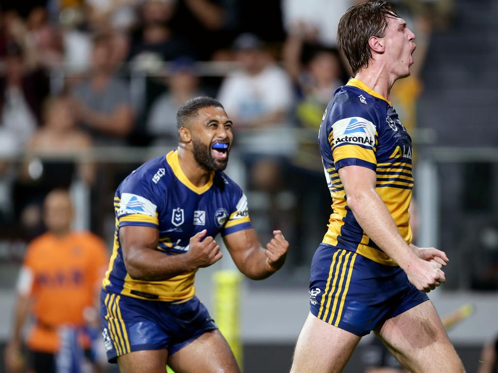 Shaun Lane celebrating a try with teammate Michael Jennings during the NRL match between the Parramatta Eels and Wests Tigers in April. Picture: Jonathan Ng