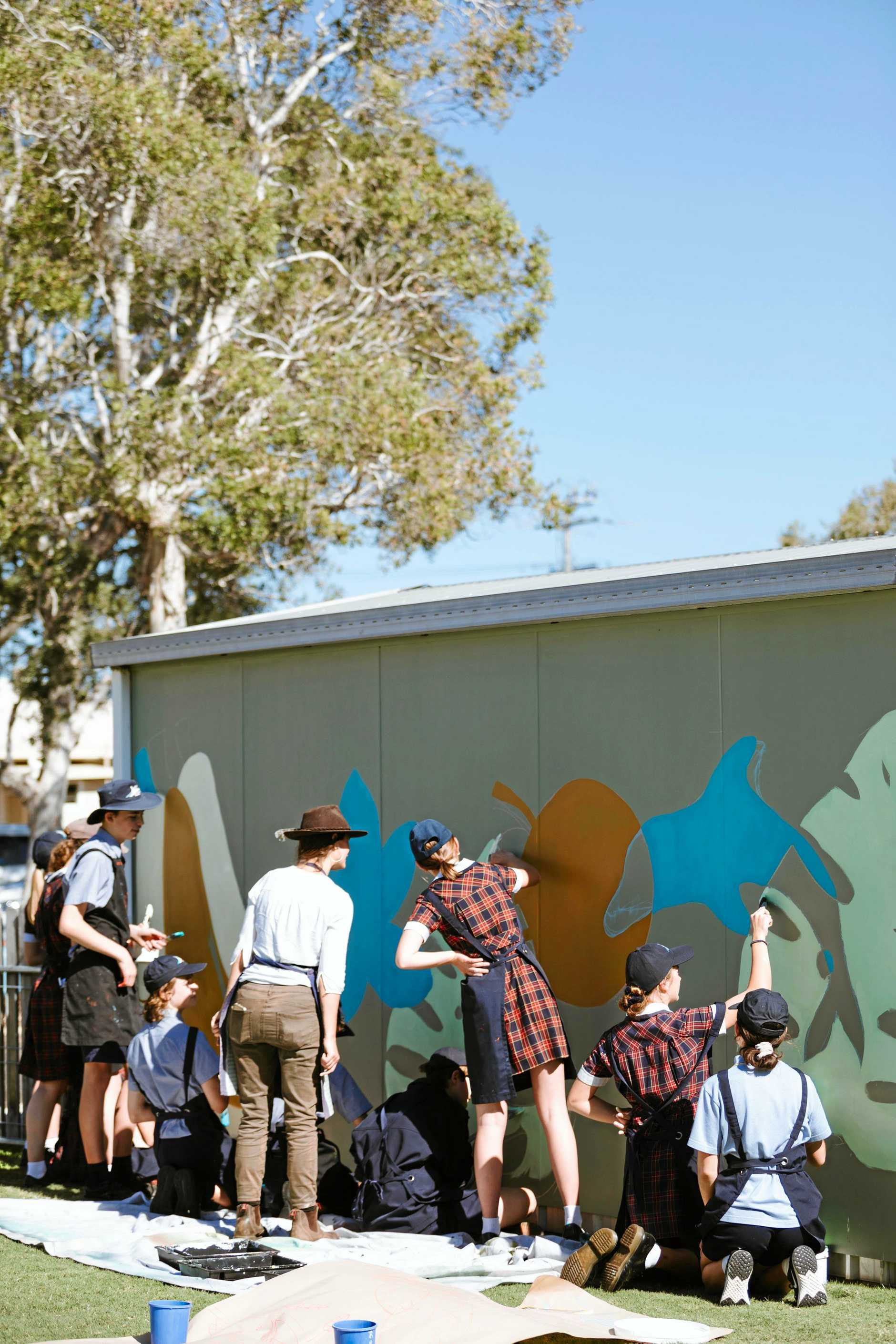 BIG CANVAS: Xavier Catholic College Year 9 students experience making large scale public art last week.