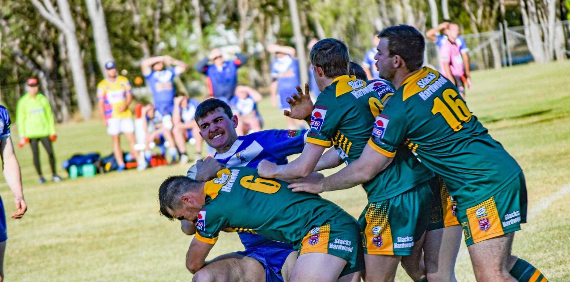 HARD FOUGHT: Gayndah Gladiators vs Monto Roos, CBRL semi final on August 11.