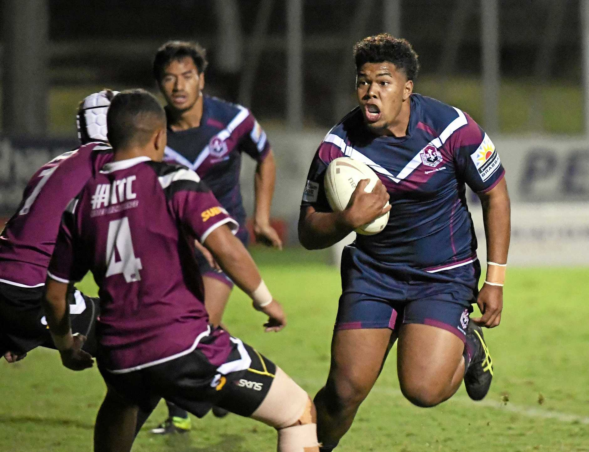 OUT OF MY WAY: Ipswich High's Ilai Tuia and his mates in the engine room will need to be on their games as two of the biggest schoolboy packs in the country go head-to-head.