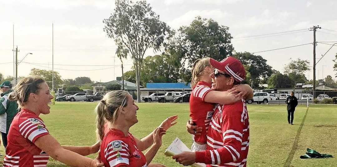 St George Filly Frillnecks players celebrate their win over the Condamine Codettes last Saturday at Riddles Oval.