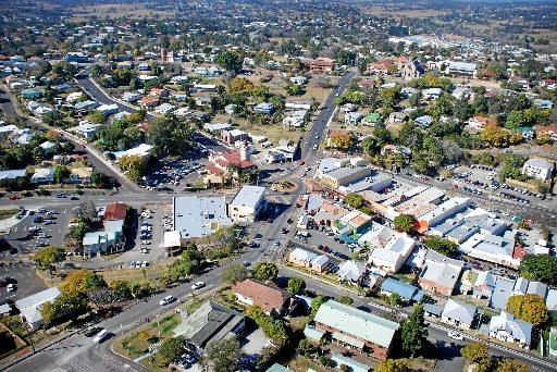 Aerial photograph of Gympie city.