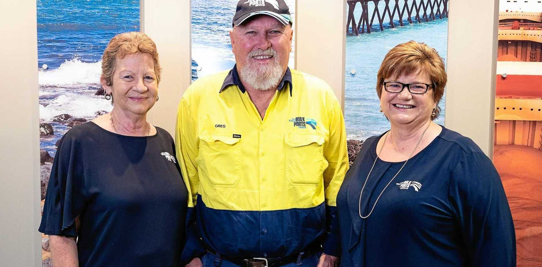 DEVOTED: Bronnie Kapitzke, Greg Steward and Debbie McDonald have given a collective 118 years of service to North Queensland Bulk Ports Corporation.