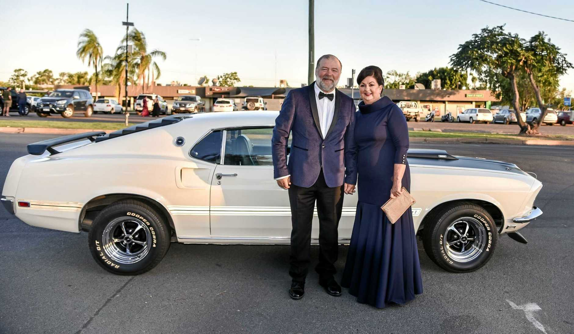 Isaac Regional Council mayor Anne Baker and husband Frank arrived in style to the Mayor's Charity Ball last weekend.