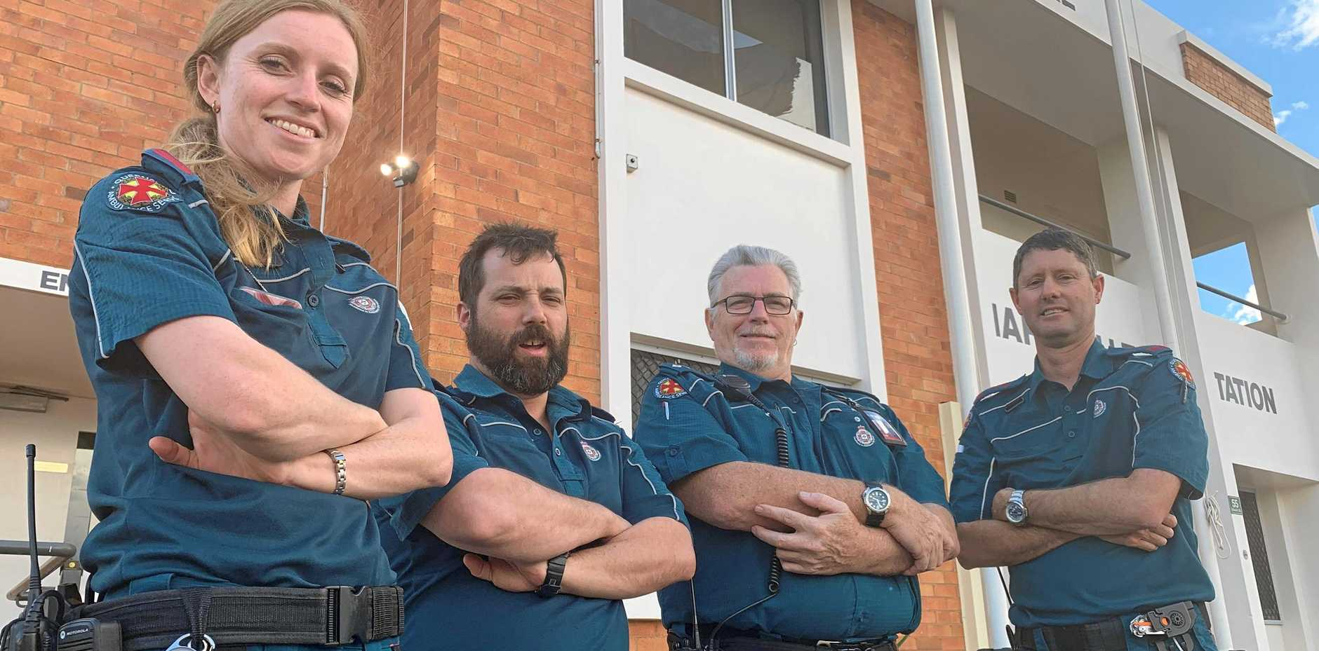 GEARED UP: Charleville ambulance officers Nicole Everitt, Jed Owen, Russel Larkin and Geoff Little are looking forward to letting down their hair as hundreds support local emergency services at the 000 Ball.